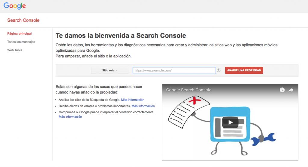 Insertar propiedad en Search Console de google
