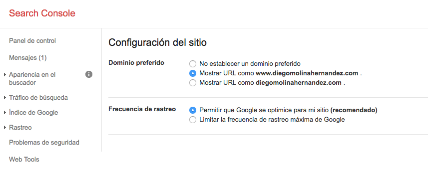 Domino preferido en Search Console