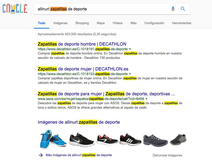 Footprints que incluye todas las palabras claves en el dominio