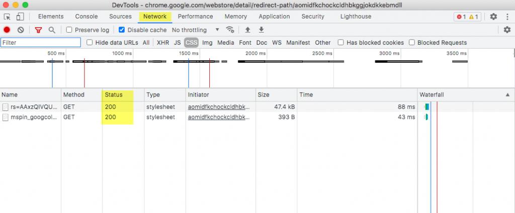 Vista Networt de Google Chrome